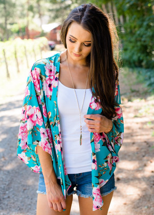Truly Floral Tie Kimono Turquoise CLEARANCE