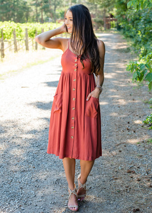 Button Me Up Tank Dress Rust