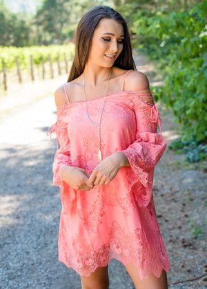 Cowgirl Up Lace Detail Dress Coral