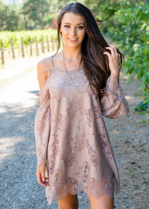 Cowgirl Up Lace Detail Dress Taupe