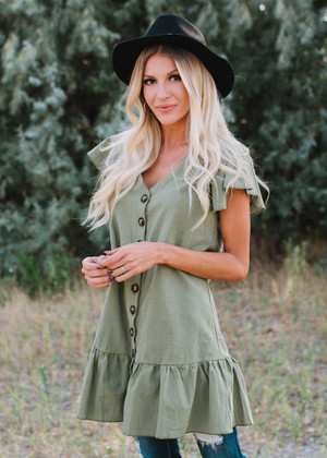 Never Been Better Button Up Ruffled Tunic Olive