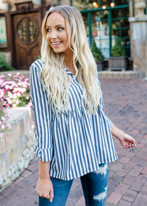 Business or Pleasure Babydoll Ruffle Striped Top Charcoal CLEARANCE