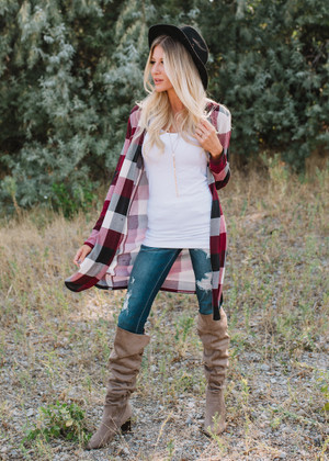 Check Yes Elbow Patch Plaid Long Cardigan