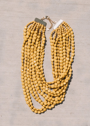 Layers of Fun Beaded Necklace Mustard
