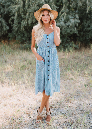 How About Forever Striped Button Dress Blue CLEARANCE