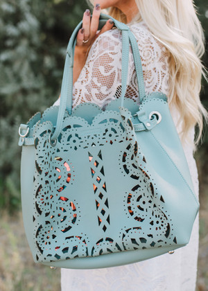 Elegantly Designed Laser Cut Bag Light Blue