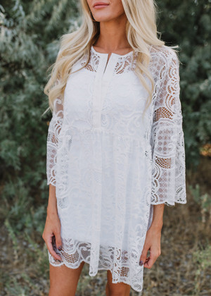 Feel My Love Lace Overlay Dress White