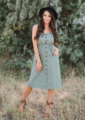 Take Me Out Linen Pocket Midi Dress Olive