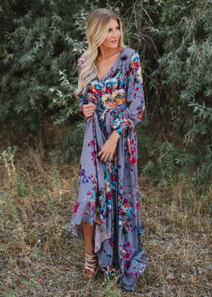Listen To The Music Floral Wrap Tie Maxi Dress Gray