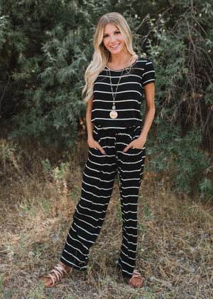 You Make Me Smile Striped Tie Jumpsuit Black