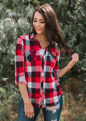 By The Fire Plaid Button Up Top Red