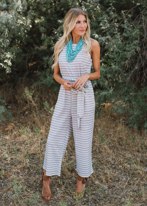 High Hopes Striped Tie Cropped Jumpsuit Gray