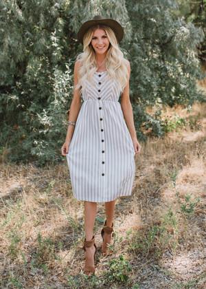 Take Me Out Linen Pocket Midi Dress Gray/White