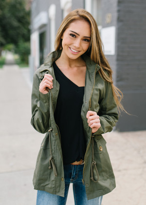 Ready For Anything Hooded Utility Jacket Olive