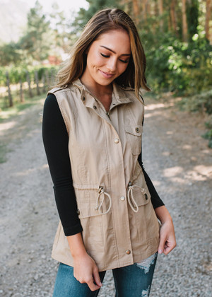 Get It Done Cinched Cargo Vest Khaki CLEARANCE