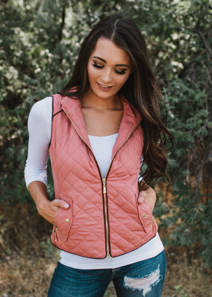 Chilly Day Quilted Zip Up Vest Soft Pink