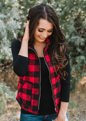 Work Hard Play Hard Buffalo Checkered Vest Red/Black CLEARANCE