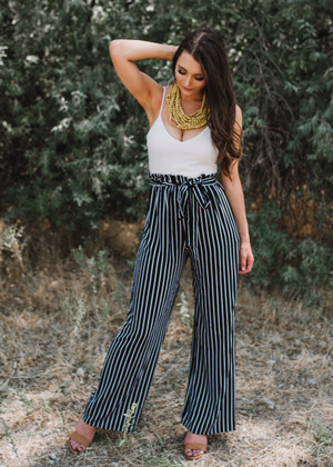 Elegant in Stripes Tie Jumpsuit Black