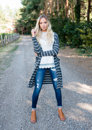 Thermal Striped Open Cardigan Charcoal/Ivory