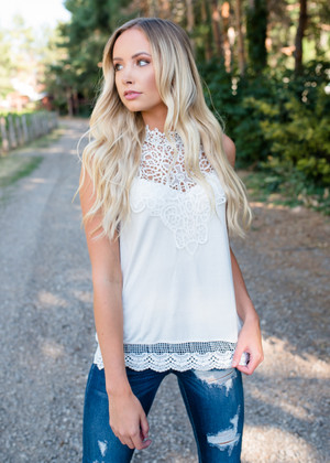 Lace of Love Contrast Tank Top Cream