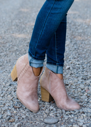 Excessively Sweet Braided Heeled Booties Warm Taupe