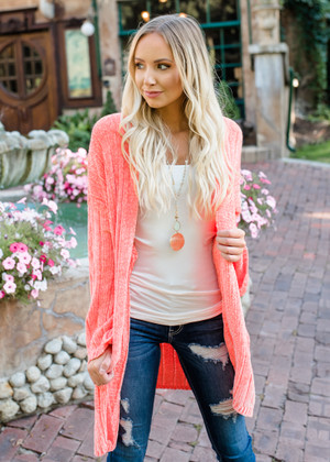Soft and Chunky Knit Open Sweater Blush