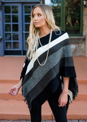 Wide Stripe Fringe Poncho Black/Gray