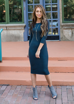Hour Glass Layering 3/4 Sleeve Midi Dress Charcoal