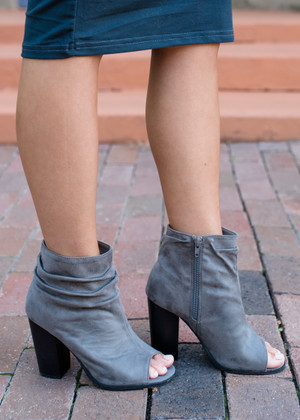 Find a New Way Suede Heeled Booties Gray CLEARANCE