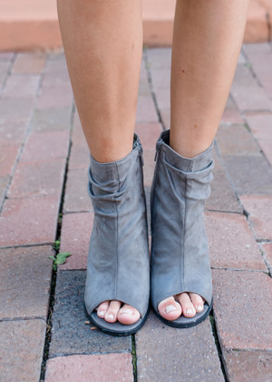 Find a New Way Suede Heeled Booties Gray
