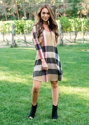 Isn't It Perfect Plaid Dress Taupe