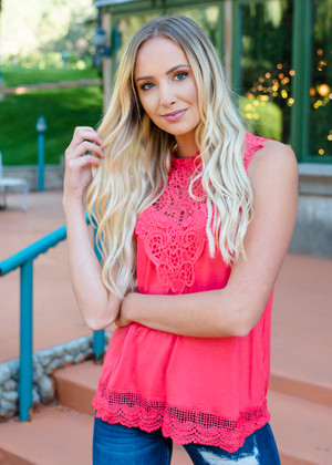 Lace of Love Crochet Contrast Tank Top Coral