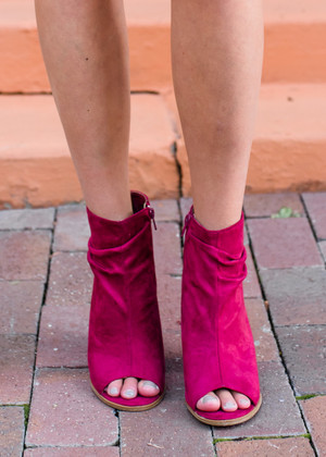 Find a New Way Suede Heeled Booties Wine CLEARANCE