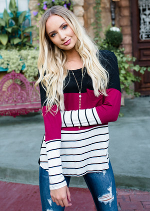 Color Blocked and Striped Pocket Top Burgundy