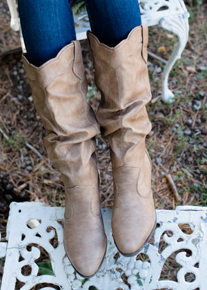 Up to Me to Choose Scalloped Cowgirl Boots Taupe CLEARANCE