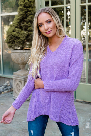 Solid Asymmetrical High Low Sweater Top Lilac