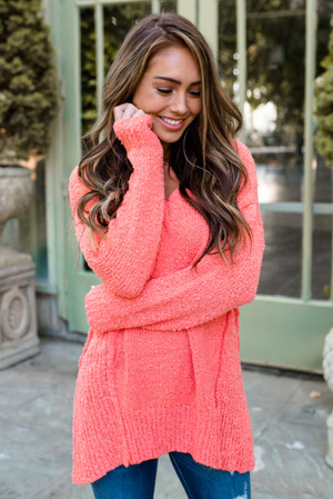 Solid Asymmetrical High Low Sweater Top Candy Pink