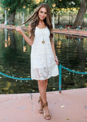 Finding Myself Crocheted Lace Overlay Dress Cream