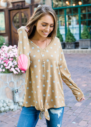 Polka Dot French Terry Elbow Patch Top Mustard