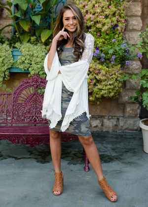 Forget The Past Ruffled Lace Detailed Cardigan Ivory