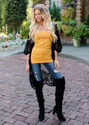 Don't Make Me Wait Crochet Lace Long Cardigan Black