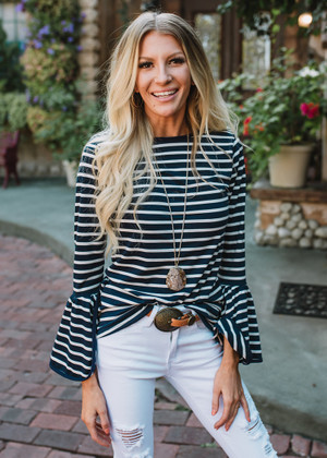 Born To Be Somebody Striped Belle Sleeve Top Navy