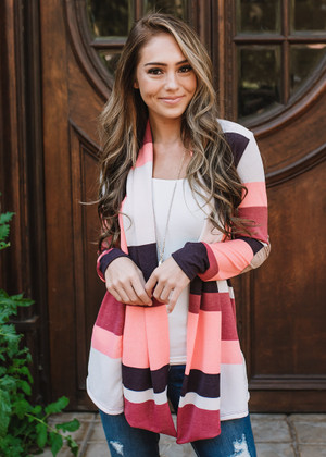 Start Of Something New Striped Elbow Patch Cardigan Pink