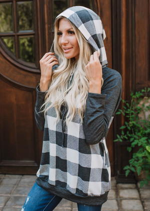 Got Everything I Need Plaid Hoodie White/Charcoal CLEARANCE