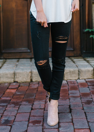 Ready For Anything Distressed Pants Black