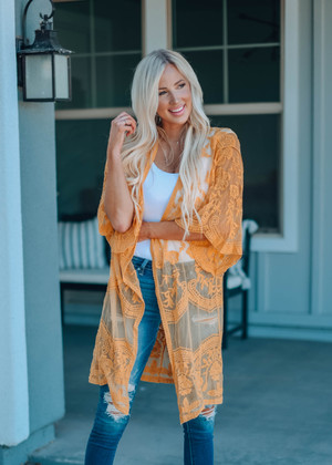Don't Make Me Wait Crochet Lace Long Cardigan Mustard