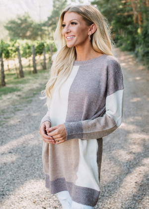 Say You'll Be Mine Color Block Sweater Tunic Mauve