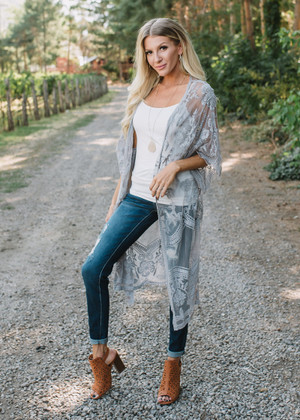 Don't Make Me Wait Crochet Lace Long Cardigan Gray