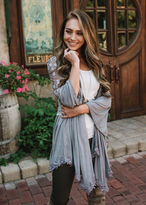 Forget The Past Ruffled Lace Detailed Cardigan Gray