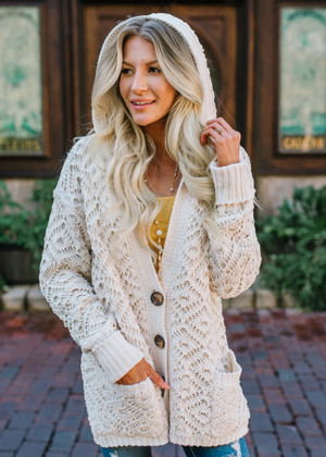 Caught the Feels Crochet Hooded Knit Cardigan Beige
